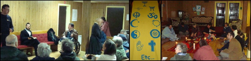 Trois photos: i- sous-sol de l'église avec plusieurs personnes en cercle dont un rabbin, une moine bouddhiste, etc. ii- bannière verticale arborant divers symboles religieux iii- groupe assieds en cercle au sol pour une méditation autochtone.