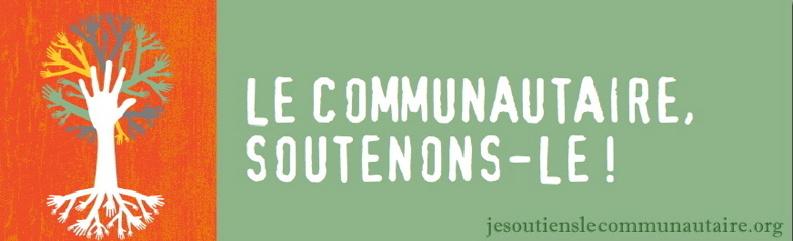 Bannière pour la campagne jesoutienslecommunautaire.org: à gauche, un arbre orange dont les racines et les branches sont plusieurs mains blanches. à droite, un grand carré vert avec la phrase: Le communautaire, soutenons-le!