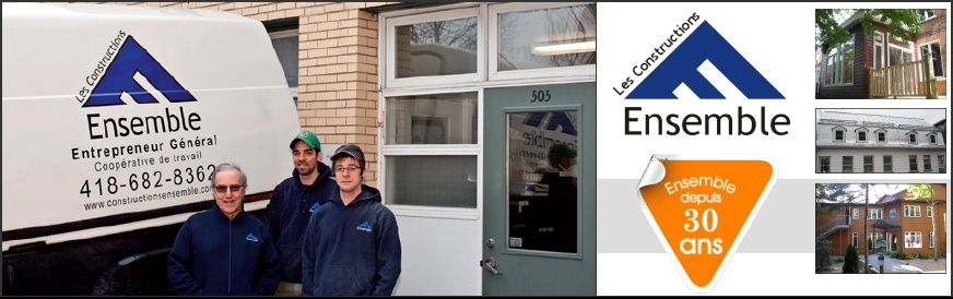 [ bannière: photo de trois des coopérants au bord de leur camion et du bureau. Paul Yvon, plus âgé, et deux plus jeunes, tous portant un chandail bleu marin avec le logo. Le camion est peinturé avec le logo, soit un E de coté ressemblant à un toit. Avec les coordonnées, dont 418-682-8362. Ensemble depuis 30 ans. Trois mini-photos de façades rénovés. Sous-titré promo: LogiRénov, 20% crédit d'impôt pour propriétaires de résidence.]