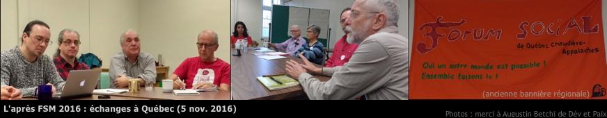 Montage de trois photos du cercle de discussion. Il y a sept hommes d'environ 40 ans et plus et deux femmes, une jeune adulte. Ils écoutent attentivement et prennent des notes. Photo aussi de l'ancienne bannière du Forum social régional.