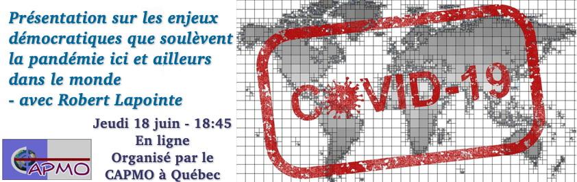 Bannière pour la rencontre en ligne du 16 avril avec La Maison d'Haïti et le CAPMO.