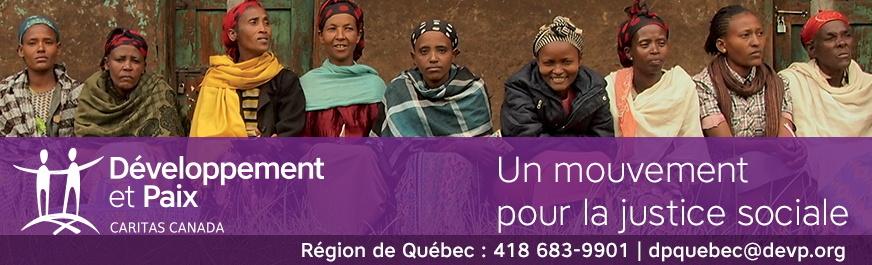 Bannières pour Développement et paix - Caritas Canada, partenaire de ce média : belle photo de neuf femmes africaines portant des couleurs différentes. La plupart portent un foulard comme couvre-chef pour se protéger du soleil. - Un mouvement pour la justice sociale. Région de Québec: 418 683-9901