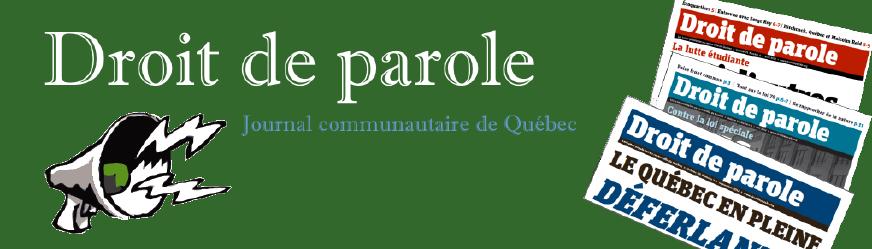 Bannière pour le site de Droit de parole, journal communautaire de Québec - www.droitdeparole.org À découvrir et lire. Dessin du dessus d'un porte-voix (cône) crachant un éclair. Sur la droite, photos des couvertures de trois éditions récentes du journal.