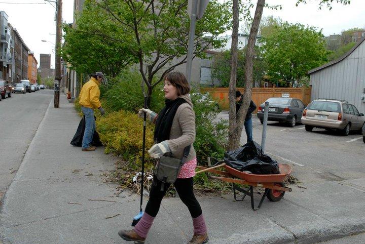 photo : une jeune femme portant des gants de travail et un monsieur portant un manteau jaune et une calotte sont occupés à ramasser les déchets aux bords de la rue, où il y a des arbres et des plantes..