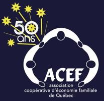 Logo de l'ACEF de Québec - Association coopérative d'économie familliale - Formes de trois personnes, vues de dessus, se tenant la main. Au bas de leur union sont les lettres ACEF.