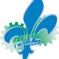 Logo: Fleur de lys bleu ciel, au-dessus de deux rouages mécaniques vert. AFPC Québec.