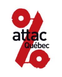 logo : entre les lettres ATTAC et Québec, il y a un point rouge, une mince ligne rouge et le mot Québec est souligné d'un trait rouge