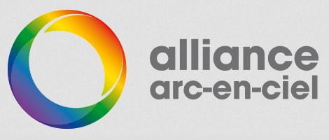 Alliance Arc-en-ciel. Logo: anneau multicolore : vert, mauve, bleu, jaune, orange, rouge.