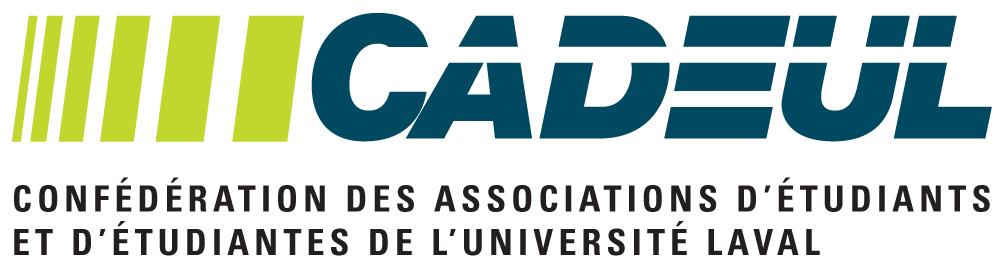 Logo de la CADEUL - Ce sont ces lettres mais en angle avec une barre blanche au travers. Six barres verticales, jaune-oranges, sont placées de manière dynamique devant.