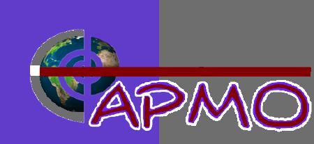 Logo du CAPMO - Le C est une spirale à travers laquelle on voit la planète terre, suivi des lettres APMO rouge-mauve.