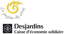 Caisse d'économie solidaire Desjardins. La passion des êtres. Sorte de spirale jaune à quatre griffes. Logo Desjardins, soit un hexagone au sein duquel il y a ce qui semble des cellules de nid d'abeilles.