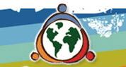 Logo - Un globe aux continents verts et, autour, trois figures de se tiennent la main [couleurs bleu, orange et rouge]. Le fonds est multicolore, avec des teintes brunâtres ou naturelles.