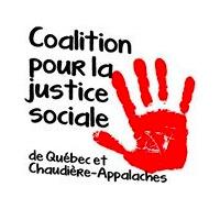 Logo : empreinte rouge d'une main. Coalition pour la justice sociale de Québec et Chaudière-Appalaches