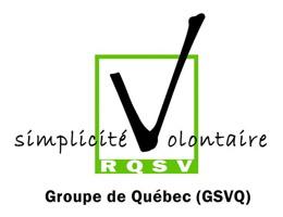 Logo du GSVQ - On voit le mot Simplicité Volontaire, le V est une coche dans une case. Sous-titré RQSV [pour Réseau québécois de la SV] et Groupe de Québec (GSVQ)
