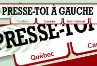 Logo tiré du site du média Presse-toi à gauche !  Lettres majucules noires. Le menu et les cadres sont rouge foncé.