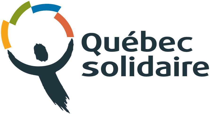 Logo de Québec solidaire - Le haut d'une forme humaine tient au-dessus de sa tête une cercle de quatre barres: jaune, vert, bleu et rouge