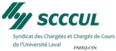 Logo: Syndicat des Chargé-e-s de Cours de l'Université Laval. Quatre lignes en diagonales ressemblent vaguement à des mains qui se serrent.