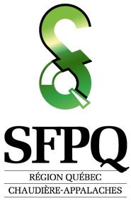 logo : SFPQ région Québec Chaudière-Appalaches - On voit un S et un Q formant un signe vert unique.