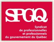 SPGQ - Syndicat de professionnelles et professionnels du gouvernement du Québec [écrit sur fonds rouge-rose]