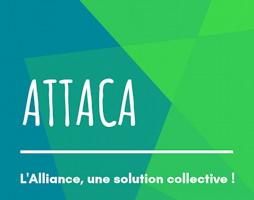 logo : ATTACA. « L'Alliance, une solution collective ! ». Sur fond de trois sections vertes : bleuté, vert-bleu et vert pomme.