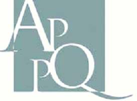 Logo : lettres A P P Q, de tailles différentes et inégales. Association des psychothérapeutes psychanalytiques du Québec.
