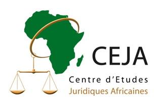 Logo du CEJA - Centre d'études juridiques africaines. Continent africain vert foncé ; cercle d'oré le traverse ; lié à une balance d'or.