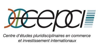 Logo sur fond blanc : devant le C (de CEPCI), il y a un C inversé orange, ainsi qu'un cercle bleu-vert. Après l'acronyme CEPCI, il y a huit courtes barres bleu horizontaux.