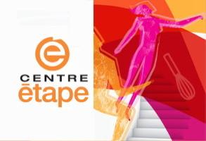 Logo : la lettre e sur un cercle orange. Cette affichette a aussi un dessin de forme féminine rose en vol, sur fond rouge et orange, au-dessus d'un escalier.