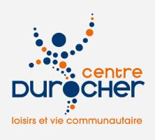 Logo Centre Durocher -loisirs et vie communautaire : des petits cercles bleu et orange, de tailles un peu différentes, forment comme un bonhomme dynamique ou dansant.
