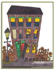 Logo : dessin d'un immeuble en briques rouges, fenêtres à jaune, porte verte, lampadaire, petite clôture en bois avec des fleurs, trottoir.