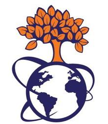 Logo du Centre : un arbre orange, pleine de feuilles oranges, sur un globe terrestre bleu marin avec trois lignes qui font le tour du globe.