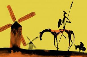 Une peinture, sur fond jaune, représentant Don Quichotte, ultra maigre sur un cheval encore plus maigre, tenant une longue lance devant deux moulins à vent (un semble en flamme). Derrière, un homme sur un âne, les deux plus en forme.