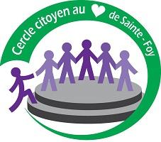 Logo: six petits bonhommes allumettes, se tenant la main, montant sur une plaque ronde grise. Diverses teintes de mauve.
