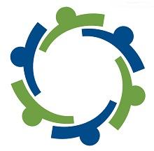 Logo du Conseil québécois de la coopération et de la mutualité : cercle composé de six lignes rappelant des têtes, ressemblant à un engrenage mécanique.