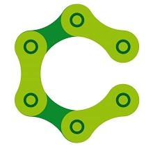 Logo: roue composée de trois maillons de chaîne de vélo, couleur verte lime.