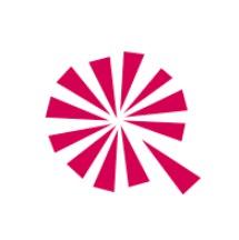 Logo sans le nom: 12 triangles forment comme des pointes de tarte séparées, de couleur rose. Une est éloignée.