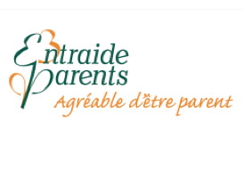 Logo : les lettre E et P du nom Entraide-Parents sont doublés comme un mirroir.  Donc le E, par exemple, sont deux E face à face. « Agréable d'être parent ».