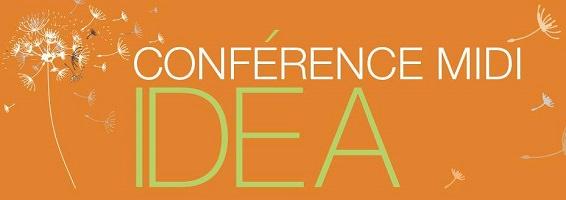 Affichette pour les conférences-midi : sur fond orange, des pissenlits blancs voguant au vent et dispersant leurs semences.