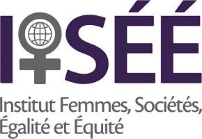 Logo de IFSÉÉ : la lettre f de femmes est remplacée par le symbole de la femme avec une globe terrestre au centre. Institut Femmes, Sociétés, Égalité et Équité.