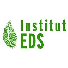 Logo Institut EDS (couleur vert vif). Dessin d'une feuille rayée.