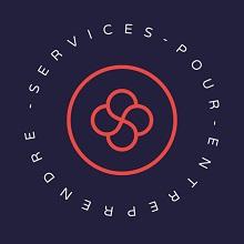 Logo de La Station : cercle rose sur fond violet. Quatre cercles se fusionnent au centre. « Services pour entreprendre ».