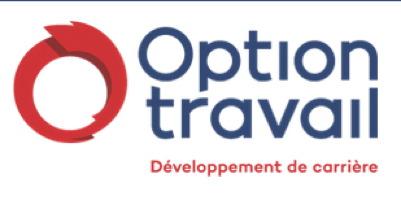 Logo : un cercle rouge sang, qui en fait une ligne courbe superposée, avec des bouts inégaux. « Option travail - Développement de carrière »