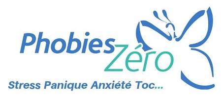 Logo sur fond blanc : contour bleu d'un papillon. « Phobies zéro : stress panique anxiété Toc ...»