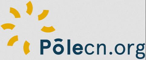Logo : Pôlecn.org. Sept traits courbes jaune forment une sorte de soleil ou de rouage.