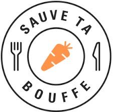Logo de Sauve ta bouffe : dessin d'une assiette, avec fourchette et couteau. Au milieu, dessin d'un légume.