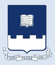 Logo de la Société historique de Québec : emblème (bouclier) bleu foncé, le bas blanc de style fortification. « fier passé oblige »