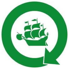 Logo du mouvement « Zéro déchet Québec  ».  Le bâteau de la Ville de Québec, mais de couleur verte forêt foncée, dans un cercle vert qui en fait une flèche en cercle, représentant un cycle comme le recyclage.