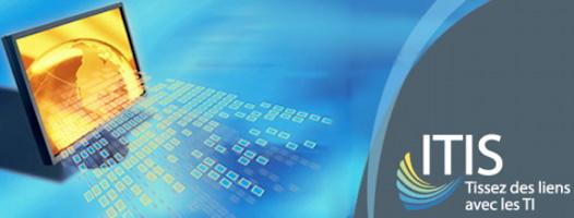 Bannière tirée du site : un écran plat, de couleur jaune-orange, projette des petits carrés bleu ciel, comme des rayons. « ITIS : Tissez des liens avec les TI »
