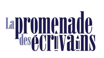 Logo : La promenade des écrivains. Belles lettres « carrées », mais en fait arrondies, bleu marin.