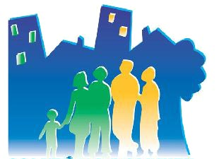 On voit quatre formes-ombres d'une famille: fille, mère, père, garçon, sur fonds de formes vaguement ressemblant à des maisons et blocs.
